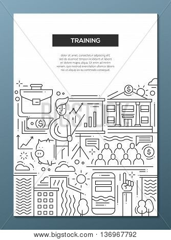 Business Training - vector line design brochure poster, flyer presentation template, A4 size layout. Meeting, trainer, trainee, improvement, education, finance employee