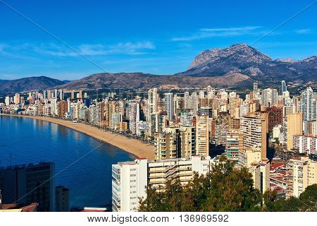 Aerial view of a Benidorm city coastline. Benidorm is a modern resort city one of the most popular travel destinations in Spain. Costa Blanca Alicante province