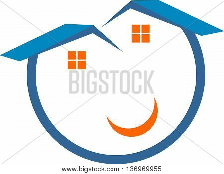 logo abstract happy smile real estate icon