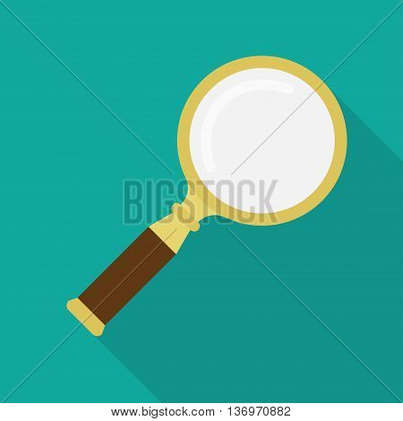 Golden magnifying glass vector icon isolated with long shadow.