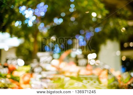 Supermarket store blur background with bokeh light