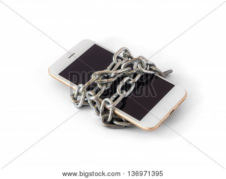 Modern mobile phone with chain locked isolate on white background with clipping path. Concept of social network issues forgot password information security robbery or piracy