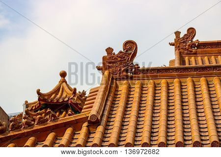 Chinese religious temple roof and tiling detail