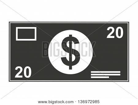 dollar bill isolated icon design, vector illustration  graphic