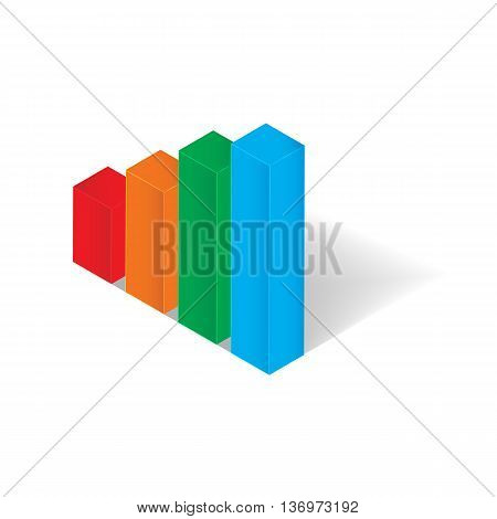 3D isomatric bar chart icon for business concept vector illustration design