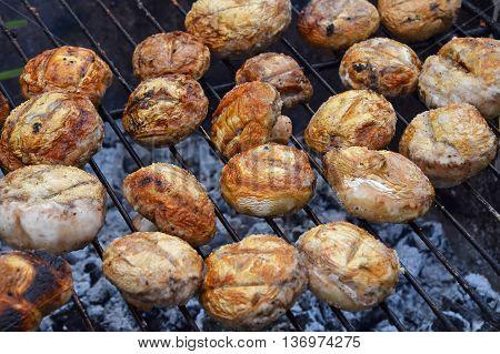 White Champignons Mushrooms On Grill
