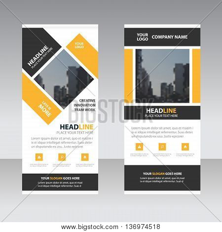 Yellow black Business Roll Up Banner flat design template Abstract Geometric banner template Vector illustration set abstract presentation brochure flyer template vertical template vector