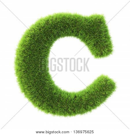 Alphabet made from green grass. isolated on white. 3D illustration.c
