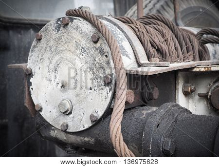 Selective focus and close up of heavy duty winch