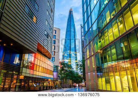 Street View Of Modern Buildings In London