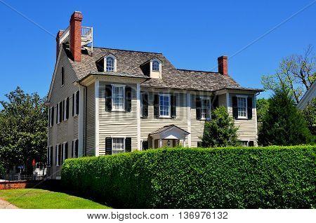 New Bern North Carolina - April 24 2016: Wooden gray clapboard 1835 Dixon House at Tryon Palace *