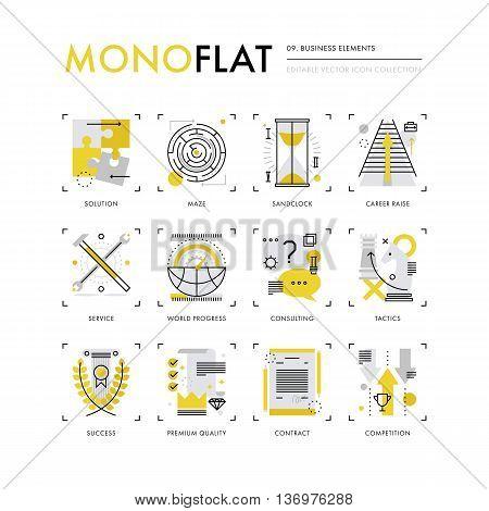 Business Elements Monoflat Icons