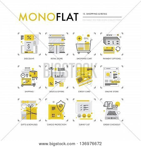 Retail And Shopping Monoflat Icons