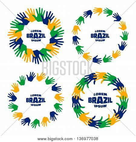 Set of colorful hand print icons using Brazil flag colors. Vector illustration.