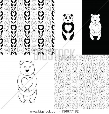 Panda bear set. Vector flat Panda. Cute cartoon Panda. Cartoon panda vector. Panda baby. Adorable panda bear. Panda bear seamless pattern. Cartoon white bear.