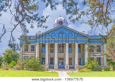 An illustrative image of a dome clock county courthouse in Texas.
