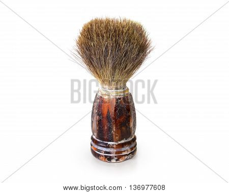 Old shaving brush isolated. Retro mens swab stand on white background. Antique barber tool. Classic shave brush accessories. Curiosity haircutter swob.