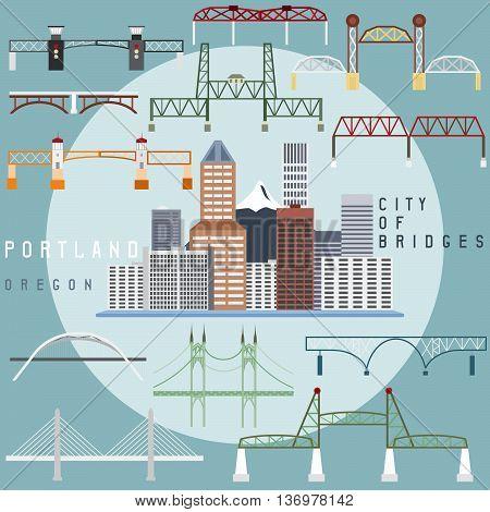 Portland Oregon USA flat design illustration of business center and set of bridges