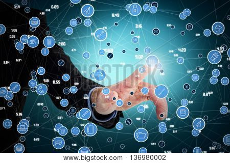 Businessman hand pointing something against blue vignette background