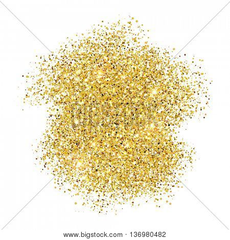 Gold glitter background.Vector shimmering particles of fireworks explosion. Glittering light effect. Twinkling lights spray on transparent background.