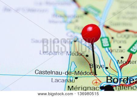Castelnau-de-Medoc pinned on a map of France