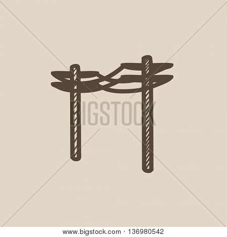 High voltage power lines vector sketch icon isolated on background. Hand drawn High voltage power lines icon. High voltage power lines sketch icon for infographic, website or app.