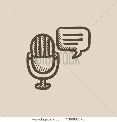 Microphone with speech square vector sketch icon isolated on background. Hand drawn Microphone with speech square icon. Microphone with speech square sketch icon for infographic, website or app.