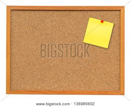Yellow Blank Note On Cork Board On Isolated White With Clipping Path.