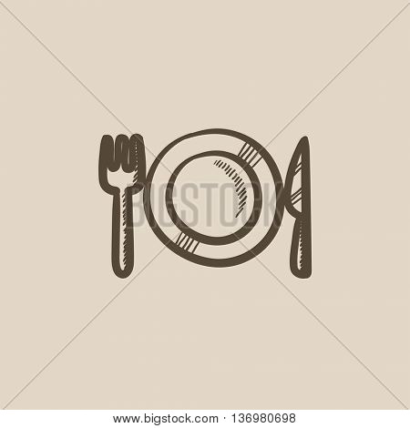 Plate with cutlery vector sketch icon isolated on background. Hand drawn Plate with cutlery icon. Plate with cutlery sketch icon for infographic, website or app.
