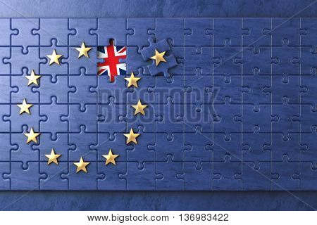 Brexit concept. Puzzle with EU European Union flag  without Great Britain  UK star. 3d illustration poster