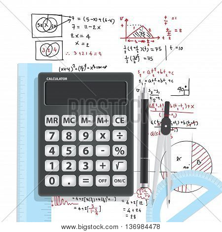 Illustration Computational Mathematics With Calculators And Accessories for mathematics on mathematical formula background vector. Education and Math Concept.