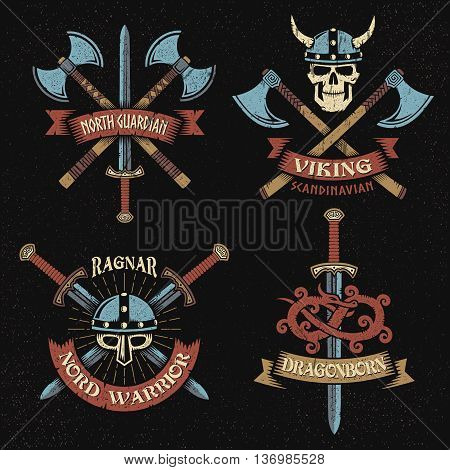 Scandinavian vikings logo set. Emblems with viking weapons. It can be disassembled into separate elements. Background texture on separate layers.
