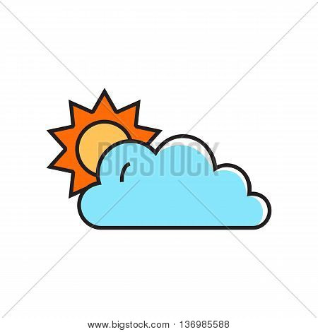 Sun covered with cloud. Cloudy with sunny periods, weather, climate,  forecast. Weather concept. Can be used for topics like weather, climate, meteorology, weather forecast