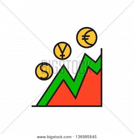 Currency rate graph with dollar, euro, yen signs. Line chart, financial analysis, statistics, growth. Currency concept. Can be used for topics like finance, presentation, business analysis