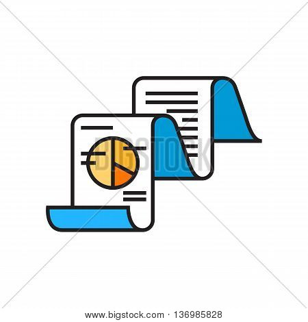 Fax message with text and pie chart. Data, technolgy, business analysis. Business concept. Can be used for topics like business, finance, technology
