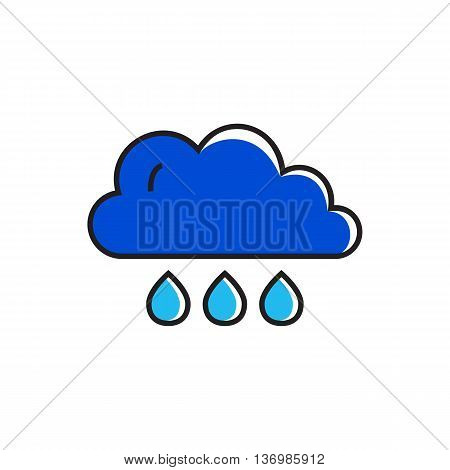 Cloud and raindrops illustration. Heavy shower, cloudy weather, weather forecast. Weather concept. Can be used for topics like weather, climate, meteorology, weather forecast