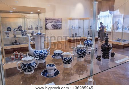 VELIKY NOVGOROD RUSSIA-JULY 1 2016. Exhibition of Chinaware in the traditional Russian style at the Museum of Fine Arts