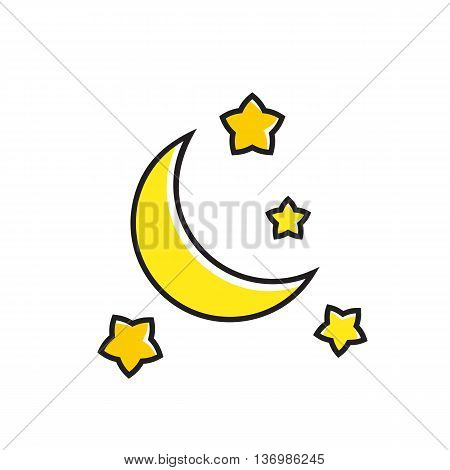Crescent moon and stars illustration. Night, weather, calm, weather forecast. Weather concept. Can be used for topics like weather, meteorology, weather forecast