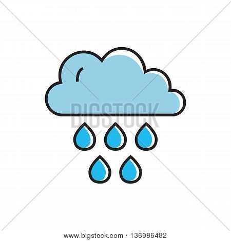 Cloud with raindrops iluustration. Rainy weather, cloudy weather, climate, weather forecast. Weather concept. Can be used for topics like weather, climate, meteorology, weather forecast