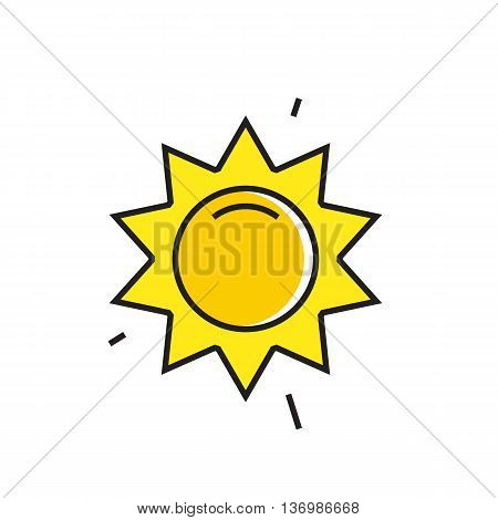 Sun with beams illustration. Sunny weather, climate, weather forecast. Weather concept. Can be used for topics like weather, climate, meteorology, weather forecast