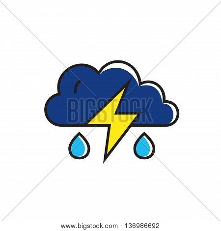 Cloud with raindrops and lightning. Thunderstorm, rainy weather, climate, weather forecast. Weather concept. Can be used for topics like weather, climate, meteorology, weather forecast