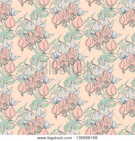 seamless pattern with fuchsia, vector illustration, floral background