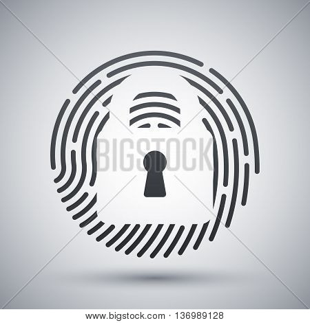 Vector Touch Id Fingerprint Icon. Touch Id Fingerprint Simple Icon On A Light Gray Background