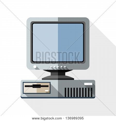 Vector Retro Computer With Crt Monitor Icon. Old Computer With Crt Monitor Simple Icon In Flat Style