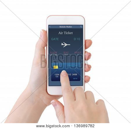 isolated woman hands holding white phone with online air ticket on the screen