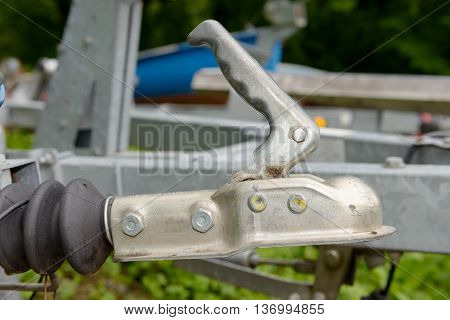 A close-up trailer hook for motor boat