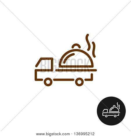 Food delivery logo. Van car with hot platter and steam. Linear style icon.