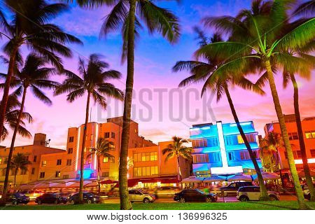 Miami Beach South Beach sunset in Ocean Drive Florida Art Deco
