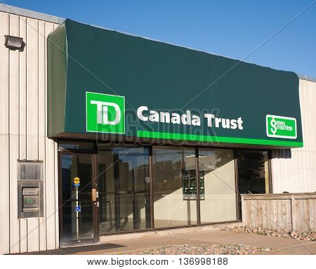 DARTMOUTH CANADA - JULY 03 2016: TD Canada Trust provides various financial services with over 1100 branches and 2600 ATM machines. TD Canada Trust is a division of Toronto-Dominion Bank.
