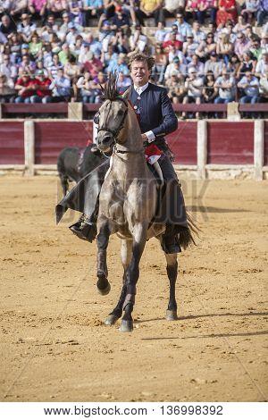 Ubeda SPAIN - October 2 2010: Fermin Bohorquez bullfighter on horseback spanish Ubeda Jaen Spain